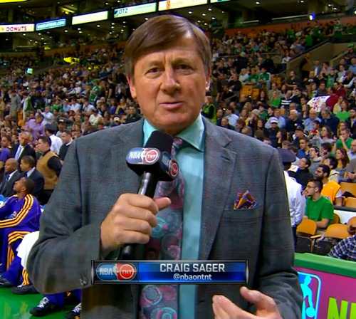 2/7/2013 - Lakers @ Celtics Craig Sager 1st quarter sideline report (close-up)