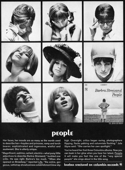 theswinginsixties:  Barbra Streisand 'People' LP advertisement, 1964.