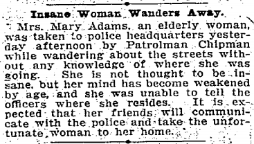 """Insane woman""…""not thought to be insane"".  Great journalism, Seattle Times! September 11th, 1903"