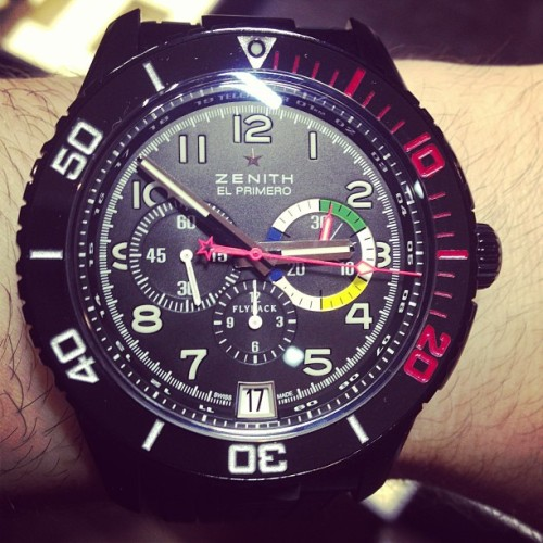 ablogtowatch:  Zenith El Primero Stratos Rainbow with Tialum case #zenithwatches #baselworld2013 #watch #watchporn #ablogtowatch  (at Baselworld 2013)