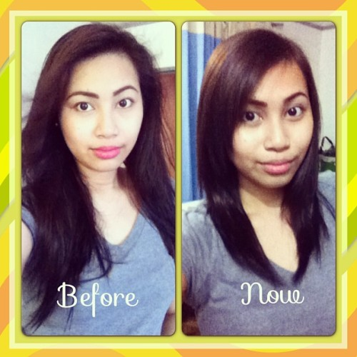 Hair transformation. Hahaha 💇 #newhair #haircut #dyehair #longhair #mediumhair #black #brunette #blonde #instagood #instamood #ig #igers #igdaily  (at Home Sweet Home)