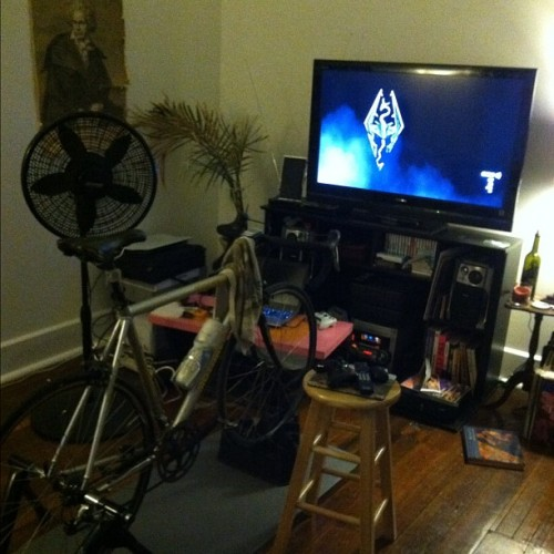 Riding the trainer and Skyrim. This worked for like 15 minutes. Need to get some TT bars.