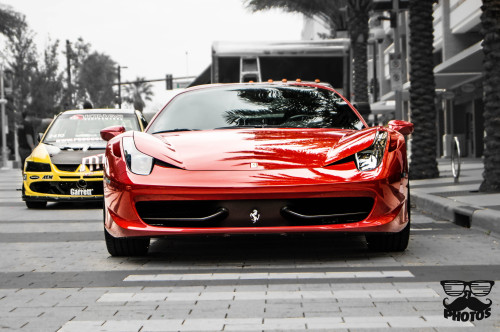csrphotospage:  just a really Quick edit i did ferrari 458 italia next to a awesome EVO ;)  enjoy ;)    http://www.flickr.com/photos/csrphotos1/8652096251/in/photostream/lightbox/