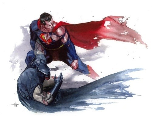 xkryptonianx:  Superman and Batman comic art