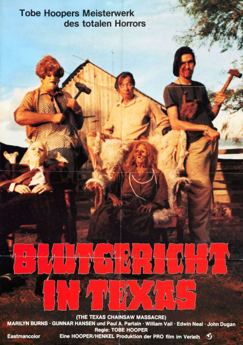 "beautyandterrordance:   German poster for The Texas Chainsaw Massacre.   ""Meisterwerk des totalen Horrors"" —Phrases I need on t-shirts fucking immediately"