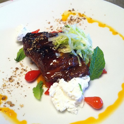 Another new menu item: sticky lamb breast confit, pickled peppers, quark, iceberg, mint, toasted coriander.