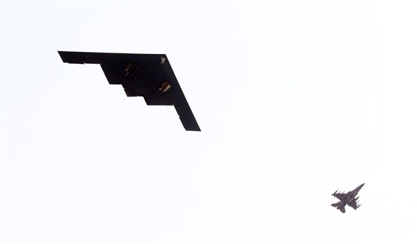 "breakingnews:  US sends nuclear-capable stealth bombers over South Korea NBC News: Two American B-2 Spirit stealth bombers practiced an attack on the Korean Peninsula Thursday as part of a military exercise that has sparked angry threats from North Korea. The U.S. military said the planes involved in the firing drill left Whiteman Air Force Base in Missouri on a ""long-duration, round-trip training mission."" Photo: A U.S. Air Force B-2 Spirit stealth bomber (left) flies over Pyeongtaek, South Korea, on Thursday. (Sin Young-Keun / Yonhap via Reuters)  Hmm… The situation's getting serious on Peninsula: … B-2 Spirit bombers are capable of carrying either conventional or nuclear weapons. In a statement, the United States Forces Korea said the mission ""demonstrates the United States' ability to conduct long-range, precision strikes quickly and at will."" Dubbed ""Foal Eagle,"" the training exercise involves about 200,000 South Korean troops and 10,000 U.S. forces and is due to continue until the end of April."