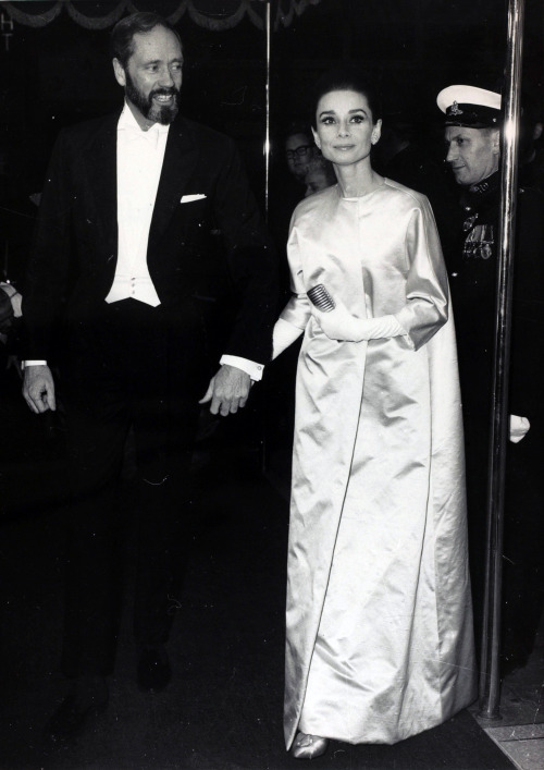 Audrey Hepburn and husband Mel Ferrer at the London premiere of My Fair Lady, January 21, 1965.