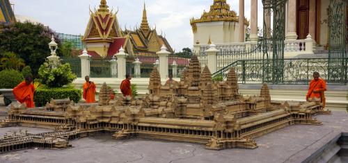 Visiting the temple in Phnom Penh, Cambodia 2013