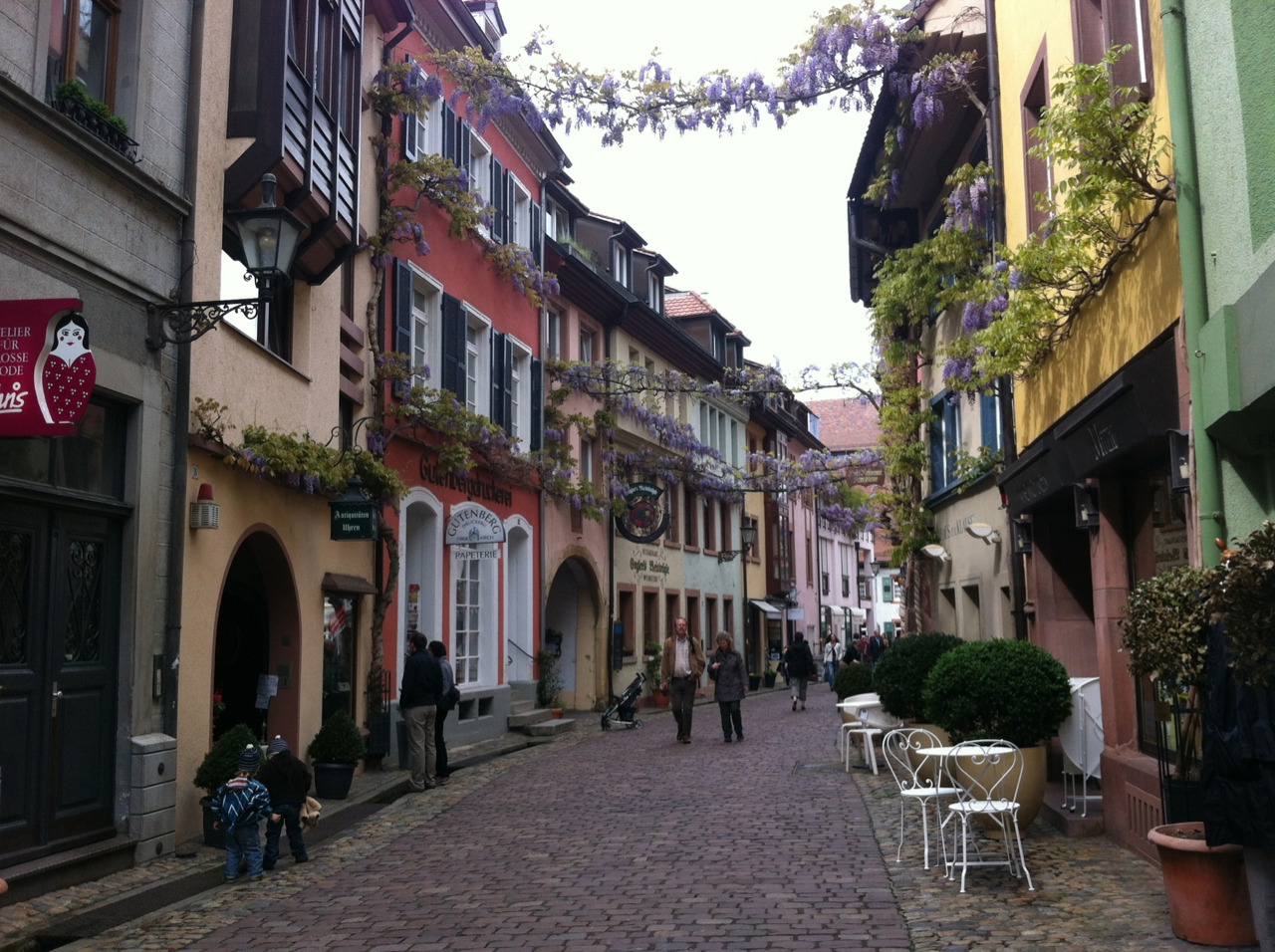 This is one of the more photogenic streets in Freiburg and it is intriguingly named Konviktstraße.  Taken with Click! App, not processed at all.