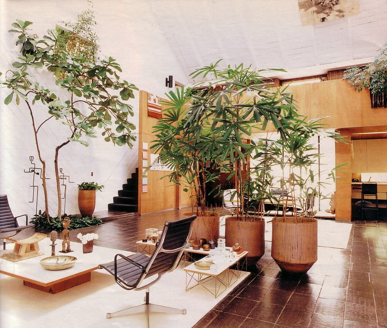 "blueberrymodern:  ""barn"" home of mid-century modernist architect a. quincy jones - wool rugs, ficus and palm trees define the different conversation areas photo by wendy ashton from the los angeles times magazine, january 27, 2002"