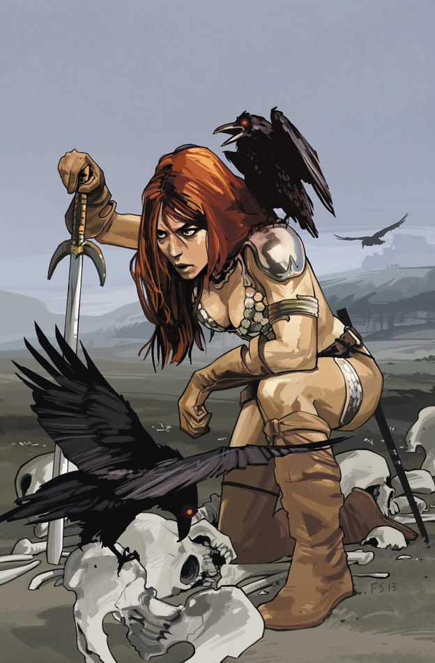 Fiona Staples cover for Gail Simone's upcoming run on Red Sonja!(Thanks, @profmdwhite)