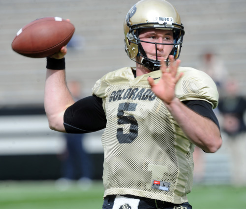 The Quarterback Question As CU coaches seek out a potential quarterback for their upcoming season, Connor Wood shows what he's got during spring practices. Read on here. Above, CU quarterback Connor Wood completed 36 of 56 passes for 601 yards in four scrimmages. (Cliff Grassmick)