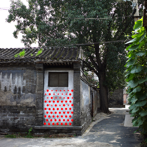 "unknowneditors:  Theory of Moments (part I) by Instant Hutong   Temporary site specific installations in empty spaces and abandoned courtyards in XianYuKou district in Beijing. The neighbourhood is under threat of demolition and people are expected to leave it. In this situation of uncertainty for many of the local inhabitants, the project works through different approaches and media. Graphics patterns to decorate the public walls, redefinition of public spaces using existing materials founded on site, insertions of little elements to be used as playground, interactive installations with colours and sounds will define a series of ""moments"" rich of meaning in which to intensify the vital productivity of everydayness, according to the definition by Henri Lefebvre (Theory of Moments in ""La Somme et le Reste"", 1959).    Check out our Facebook!"