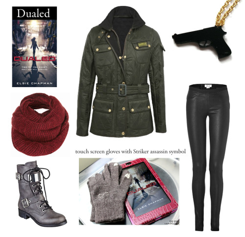 "fictiontofashion:  Outfit inspired by Elsie Chapman's Dualed  ""I chuck my old clothes into the garbage. More pieces of my past, gone. I linger for a second over my shirt, the memory of Chord's fingers, before letting it go as well. No looking back.""  Striker Touch Screen Gloves 