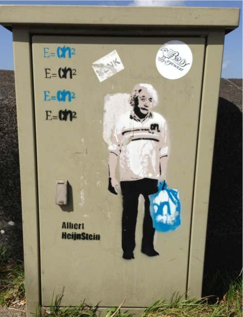 "Funny if you're dutch: ""Albert Heijnstein"" stencil art"