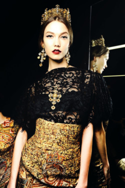 thekarliesalad:  Backstage @ Dolce & Gabbana Fall/Winter 2013