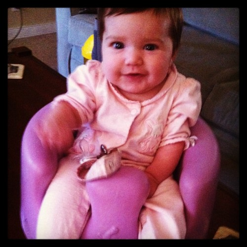 She can finally sit up in her #bumbo!!! Yay! She's growing up. 😊😄❤❤ #babybailee #loveofmylife