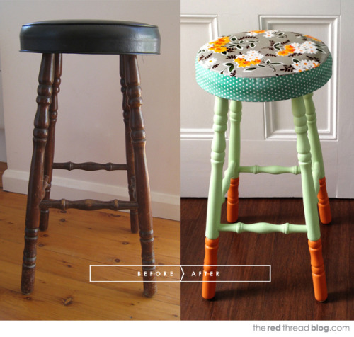 niftyncrafty:  DIY Stool Makeover | The Red Thread