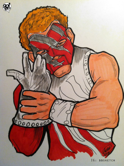 "BLAKE GRIFFIN AS KANE!!! It's Blake Griffin as Kane!  It's Blake Griffin as Kane!!!   I posted this GIF, nicknaming DeAndre Jordan ""The Undertaker.""  Then this showed up in my email, from M.B. Bowens.  So, I tweeted this, and Oakley + Allen tweeted back:  @gotem_coach I love that nickname, can BG be Kane? Great ""main man"" shout out too, Ahmad would be proud. March 11, 2013  Ten minutes later, M.B. Bowens emails me again, this time with the sketch above.  I mean, how often do dreams come true? Remember to follow M.B. on instagram: bbsketch"