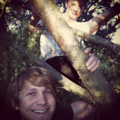 A couple of classes gents at the top of a tree. #treeclimbing #adventure