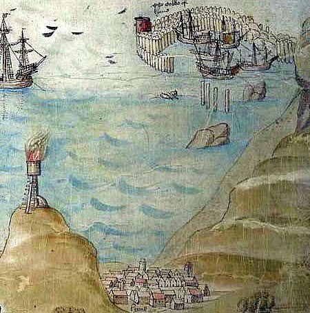 Picture of Lyme Regis, Dorset UK around 1600 my house was built around that time it is down near the church in the painting. The French Lieutenant's Woman was filmed here, in this painting the Cobb was made of timber.