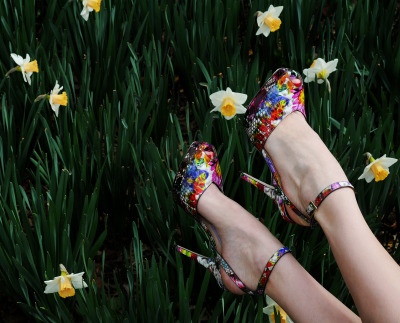 10022-shoe:  Jimmy Choo in bloom.Photo by Kristen Somody Whalen  perf