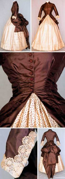 gdfalksen:  Dress, ca. 1880. Chocolate brown silk polonaise bodice dips at the sides to drape and form back bustle. Ten crochet ball buttons, embroidered lace cuffs, tan cotton lining. Cream silk twill skirt with tiny brown floral print, square insert in back of solid brown and bustle ties.