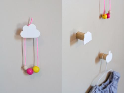 DIY Decorative Children's Wall Hooks : Dotcoms for Moms I just adore the clouds! And yay! for shrinky dink crafts!
