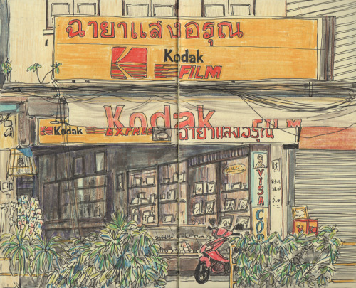 peterwenmanart:  Another coffee shop drawing, Chiang Mai, Thailand.