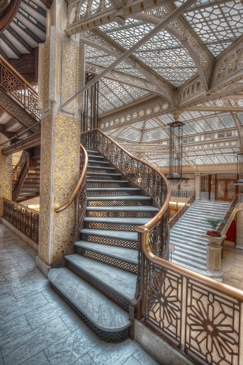sarahedoyle:  Chicago. The Rookery. Burnham and Root. Completed in 1888. Frank Lloyd Wright redesigned the skylit lobby in 1905.