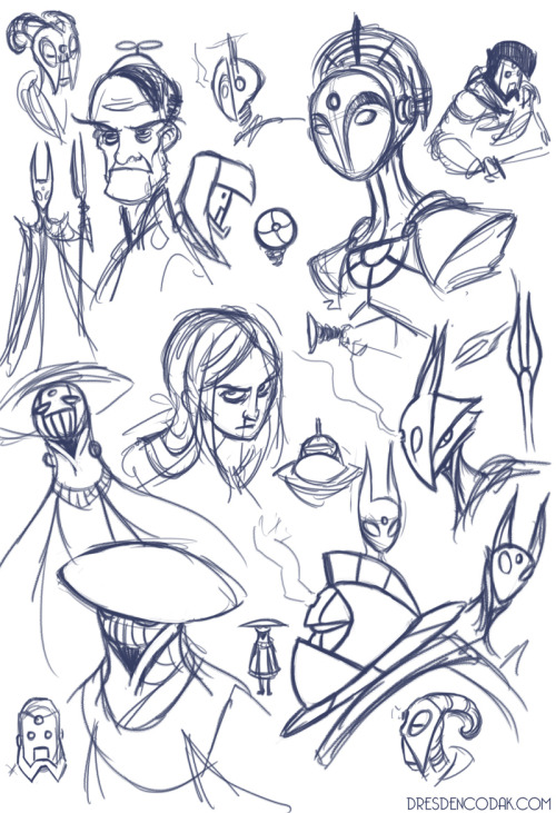 Warmup drawing: some Dark Scientists and others. Designing seven characters that have to be distinct but also similar is HARD.