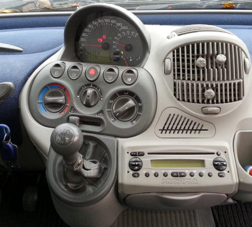 jeffzie:  tulipwoodacer:  mulitple functions dash  I love the Fiat Multipla - it IS ugly, but it's designed around the driver and passengers. It's a clever, practical motor.  Italian flair I love the Multipla and all its weirdness. And you can still buy one new (sort of).