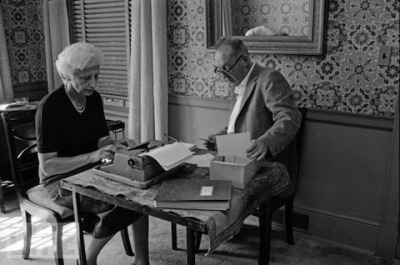 Vladimir and Vera Nabokov, working at home.