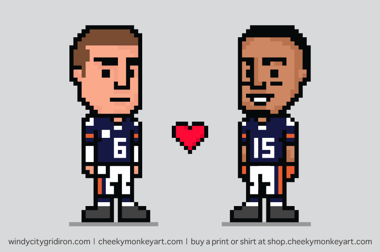 8-Bit: Bromance (as featured on windycitygridiron.com) | Purchase this as a t-shirt, wall art, iphone cover, etc from my online store.