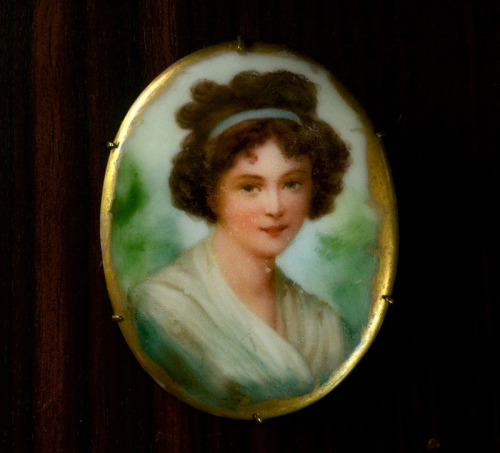 eriebasin:  1900s Edwardian Portrait Brooch, Transfer with Hand Painting, $150