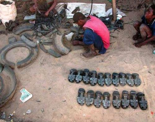 "Innovative footwear recycled from old tires.  ""Creativity is the greatest rebellion in existence."" - Osho"