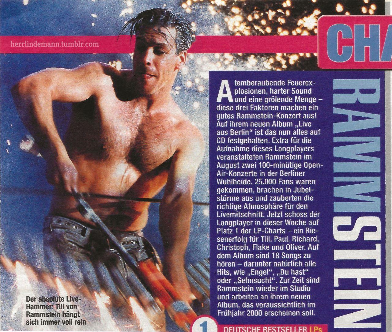 Deutsche Bestseller : Rammstein - Live Aus Berlin. #Rammstein#Till Lindemann #a boy with his toy #1999#my scans#*