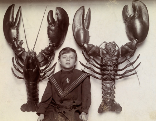 blackandwtf:  1915 A boy between two mounted lobsters caught off the New Jersey coast. (via natgeofound)