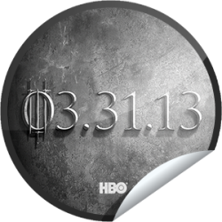 I just unlocked the Game of Thrones Season 3: 3/31/13 sticker on GetGlue                      43028 others have also unlocked the Game of Thrones Season 3: 3/31/13 sticker on GetGlue.com                  Game of Thrones Season 3 premieres 3/31/13 on HBO.  Meet the new characters. Share this one proudly. It's from our friends at HBO.