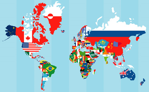 Fantastic world map with country flags.