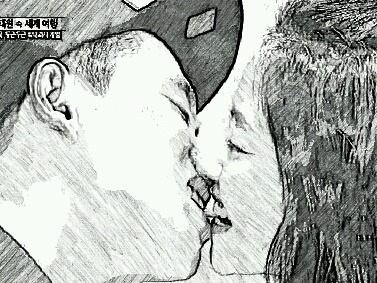 lovefoodkoreanspaceandcolor:  Sketch of the monday couple kiss.