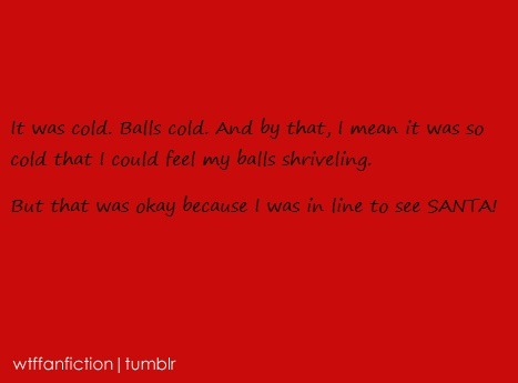 "wtffanfiction:  Fandom: Hetalia ""It was cold. Balls cold. And by that, I mean it was so cold that I could feel my balls shriveling. But that was okay because I was in line to see SANTA!"""