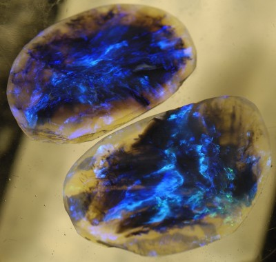 "dewymossempire:  ""Twin Galaxy Stones,"" a pair of nearly identical Lightning Ridge Black Opals, more rare, fragile, & valuable than Diamonds. Source. & more about Black Opals here."