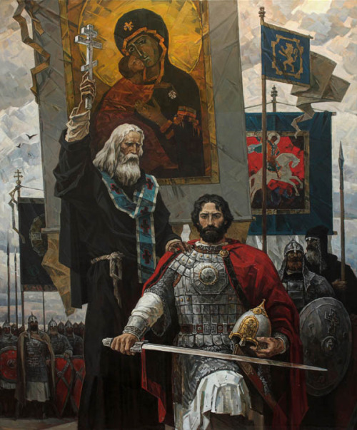 oldsamovar:  Sergius of Radonezh blessing Dmitry Donskoy before the battle by Yuri Pantyukhin
