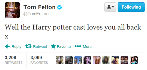 tom spreading his love to hp fandom via twitter