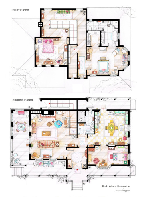 pinmywings:  Floor plan of Lorelai and Rory Gilmore's house in Stars Hollow
