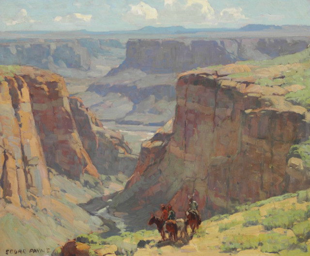 Edgar Payne Riders Overlooking Canyon Oil on canvas, 28 X 34¼ inches