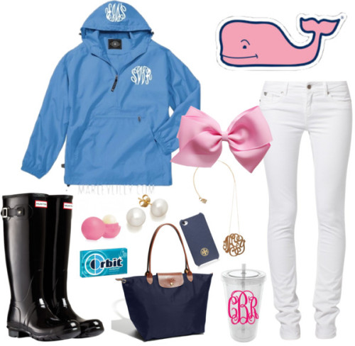 southernbombshell23:  Rainy day by preppyinpink14 featuring a monogram necklace ❤ liked on Polyvore Columbia light weight rain jacket / Kaporal slim cut jeans, $91 / Hunter black boots, $130 / Longchamp  tote / Stud earrings, $755 / Ginette_NY monogram necklace / Tory Burch / Whale Sticker Vineyard Vines / Personalized Monogram Tumbler 20 oz with Interlocking Vines Monogram / Wrigley's Orbit Sugar-Free Wintermint Gum 14-pc.