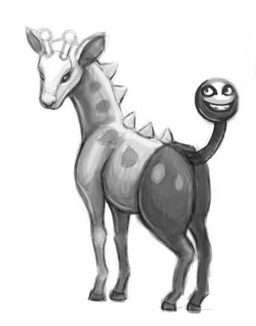 Girafarig WIP sketch. I'm trying out some different coloring techniques. Here I'm going to try out a tutorial I came across for coloring a B&W sketch.